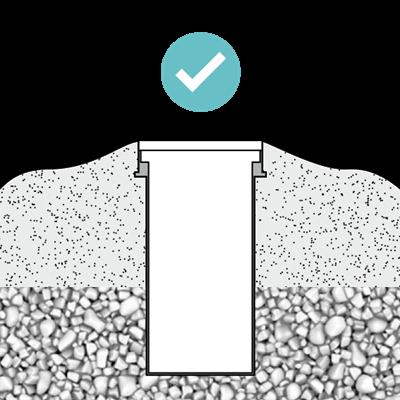 Realizar drenaje correcto (mín. 300 mm.)
