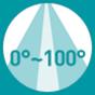 0°-100° down